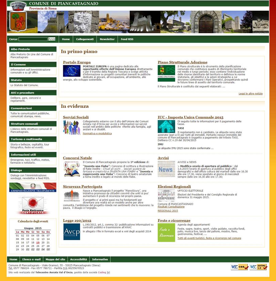 Sito web comune di piancastagnaio coding srl for Sito web di progettazione di pavimenti