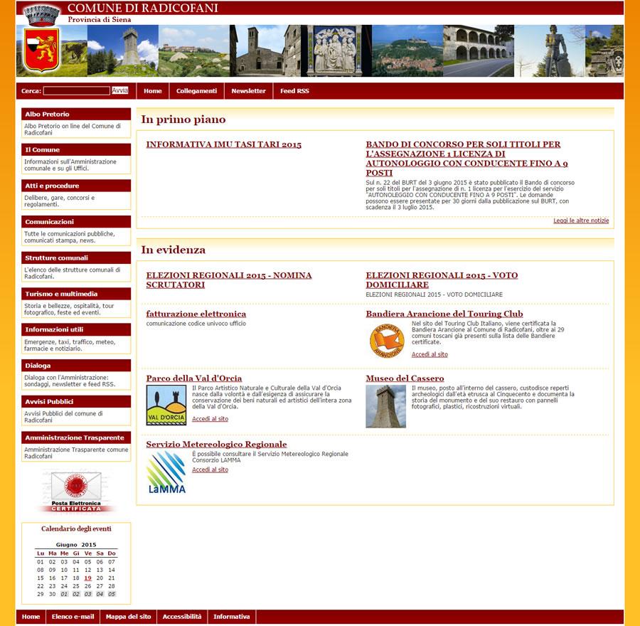 Sito web comune di radicofani coding srl for Sito web di progettazione di pavimenti